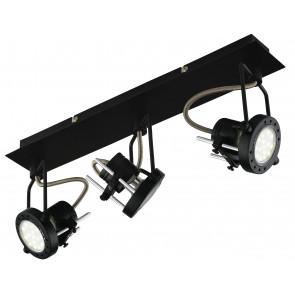 SPOT-TECHNO-3 NER Faretti  lampade Spot in metallo TECHNO con finitura nero satinato 3xGU10 6W LED orientabili
