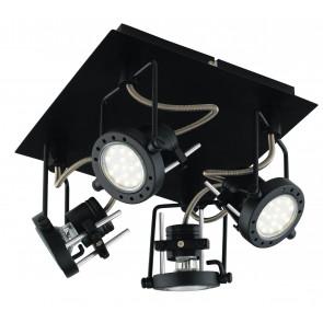 SPOT-TECHNO-PL4 NER Plafoniera Faretti  lampade Spot in metallo TECHNO con finitura nero satinato 4xGU10 6W LED orientabili