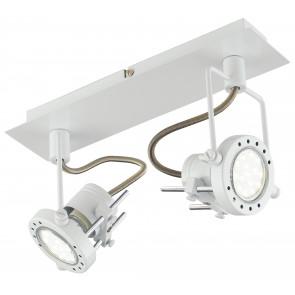 SPOT-TECHNO-2 BCO Faretti  lampade Spot in metallo TECHNO con finitura bianco satinato 2xGU10 6W LED orientabili