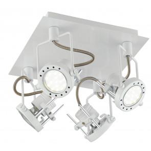 SPOT-TECHNO-PL4 BCO Plafoniera faretti lampade Spot in metallo TECHNO con finitura bianco satinato 4xGU10 6W LED orientabili