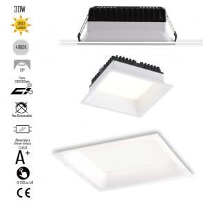 INC-XANTO-M-Q220 Lampada da incasso XANTO quadrata in alluminio bianca pressofuso con Led  SMD integrato 4000K- 2800Lm - 30W