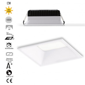 INC-XANTO-M-Q110 Lampada da incasso XANTO quadrata in alluminio bianca pressofuso con Led  SMD integrato 4000K- 980Lm - 12W