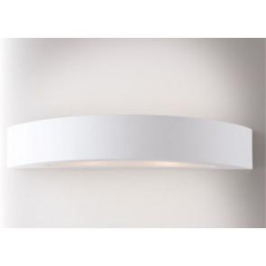 I-CORTINA-AP Applique CORTINA curvo bianco a parete in gesso cm 7h x 42l x 15p verniciabile  2xE14 max 13W