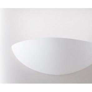 I-MORITZ-S-AP Applique MORITZ semi tondo bianco moderno a parete 12H X 25L cm in gesso 1xE27 max 42W