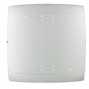 I-CHARME/PL45 Plafoniera Charme quadrato in vetro decorato bianco e incisioni trasparenti 45 Hx 45L Led 40 W