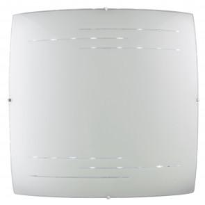 I-CHARME/PL55 Plafoniera Charme quadrato in vetro decorato bianco e incisioni trasparenti 55 Hx 55L Led 60 W