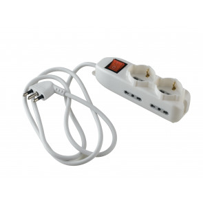 I-POWER-SC2-BP4 Adattotore multipresa con interruttore on/off 2 x schuko e 4 bipasso 230V 10/16a cavo 1,5m spina h05vv-f