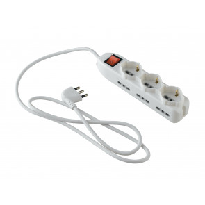 I-POWER-SC3-BP6 Adattotore multipresa con interruttore on/off 3 x schuko e 6 bipasso 230V 10/16a cavo 1,5m spina h05vv-f
