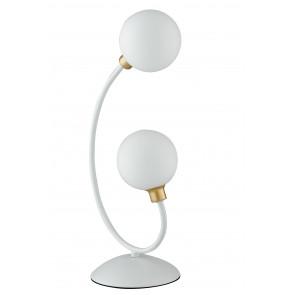 Lume da tavolo Aida design moderno bianco e oro con diffusori a sfera