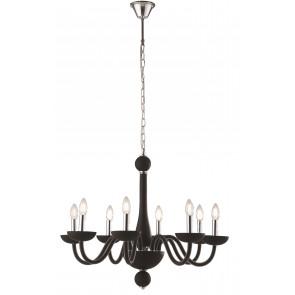 Lampadario a soffitto Alfiere design contemporaneo moderno in vetro nero e finiture cromo 8 lampadine