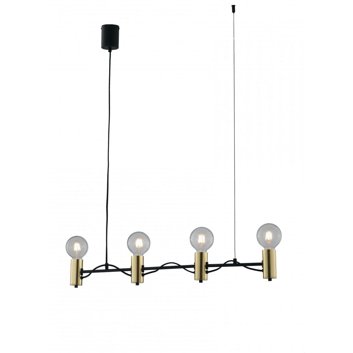 Creare Un Lampadario Di Stoffa lampadario a soffitto axon vintage sospensione con 4 porta lampade oro e  cavo in tessuto nero