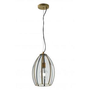 Lampadario a soffitto Chester in vetro rifiniture in ottone design vintage una luce dm 23 cm