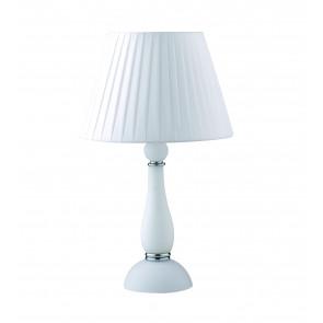 Lume da Tavolo Alfiere design contemporaneo moderno in vetro soffiato bianco e finiture cromo