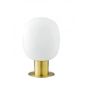Lume da tavolo Fellini design  in metallo oro e vetro soffiato opale 30 dm