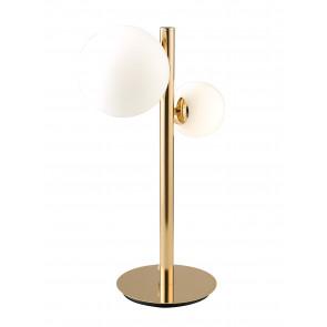 Lume Lampada HERA da tavolo design moderno tondo in metallo oro e diffusore vetro soffiato bianco