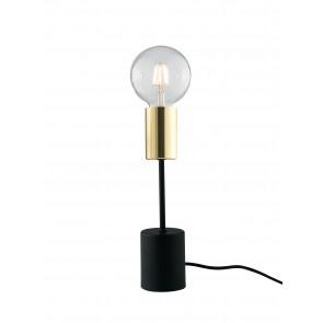 Lume lampada Axon da tavolo vintage con porta lampada oro e cavo in tessuto nero