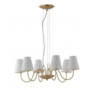 Lampadario a soffitto Canto design classico in metallo oro e diffusori in vetro bianco 6 lampadine