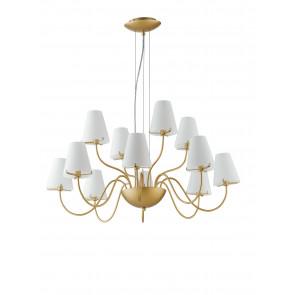 Lampadario a soffitto Canto design classico in metallo oro e diffusori in vetro bianco 12 lampadine