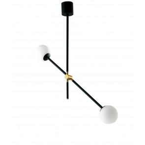 Lampadario a soffitto ANTITESI nero e oro spazzolato 2 diffusori in vetro soffiato opale bianco