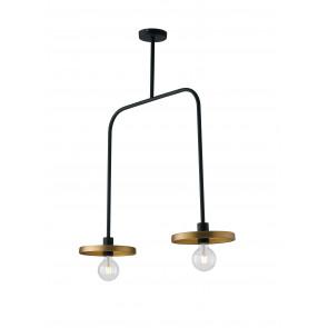 Lampadario a soffitto sospensione Twiga design moderno in metallo nero e oro satinato 2 lampade