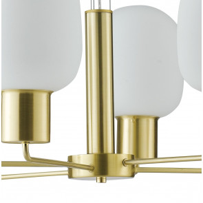 Lampadario sospensione a soffitto Fellini design  in metallo oro e vetro soffiato opale 30 dm