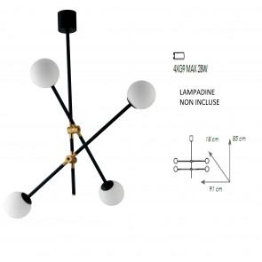 Lampadario a soffitto ANTITESI nero e oro spazzolato 4 diffusori in vetro soffiato opale bianco