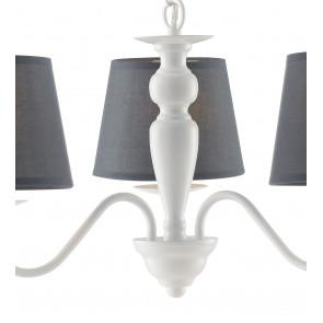 Lampadario a soffitto sospensione Favola in metallo bianco e paralumi in tessuto grigio 8 luci