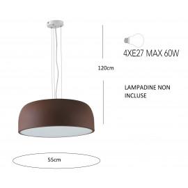 Lampada da soffitto sospensione BISTROT design moderno colore bronzo-bianco 4xE28