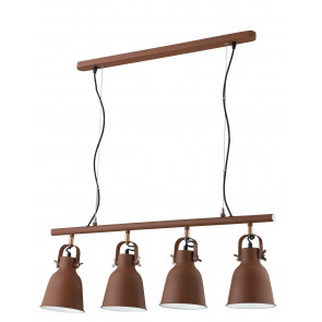 Lampadario a soffitto sospensione Legend 4 luci bronzo con finiture rame design industriale