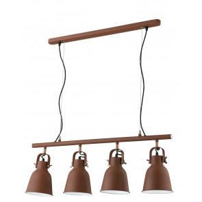 Lampadario a soffitto sospensione Legend 4 luci bronzo con finiture rame design industriale