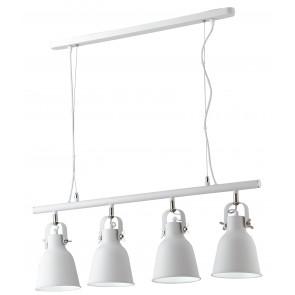 Lampadario a soffitto sospensione Legend 4 luci bianco con finiture nikel design industriale