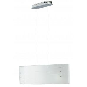Lampadario da soffitto sospensione Charme rettangolare in vetro decorato bianco e incisioni trasparenti 120 Hx 65L Led 50 W