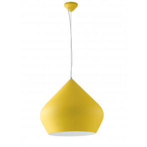 Lampadario a soffitto sospensione Tholos in metallo giallo con interno bianco