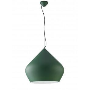 Lampadario a soffitto sospensione Tholos in metallo verde scuro con interno bianco