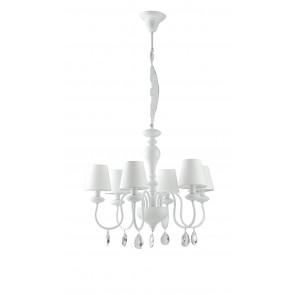 Lampadario a soffitto Arthur 6 lampadine in metallo bianco e pendenti in cristallo K9 paralume in tessuto