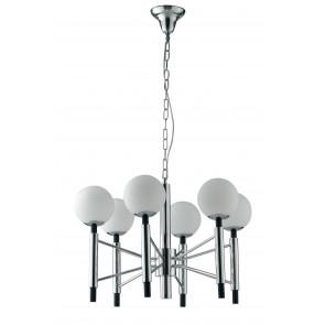 Lampadario da soffitto HAMMOND sospensione rifiniture cromo nero diffusore in vetro opale 6 luci