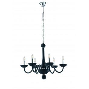 Lampadario a soffitto Alfiere design contemporaneo moderno in vetro nero e finiture cromo 6 lampadine