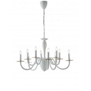 Lampadario a soffitto Armstrong design contemporaneo moderno in metallo bianco e rifiniture in oro satinato10 lampadine