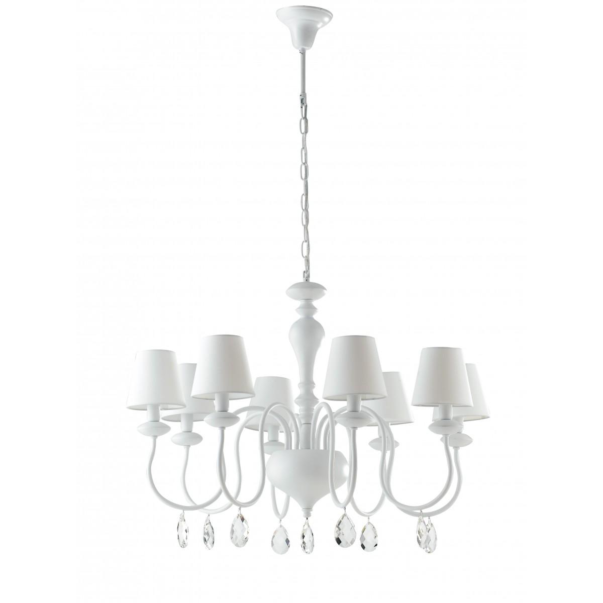Suspension//encastré plafond pendentif –6 Lumière Chrome /& Blanc lustre-lampe porte-ampoule