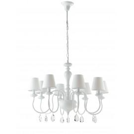 Lampadario a soffitto Arthur 8 lampadine in metallo bianco e pendenti in cristallo K9 paralume in tessuto