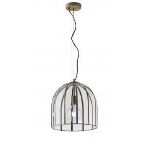 Lampadario a soffitto Chester in vetro rifiniture in ottone design vintage una luce dm 30 cm