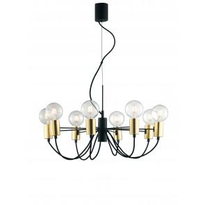 Lampadario a soffitto Axon vintage sospensione con 8 porta lampade oro e cavo in tessuto nero