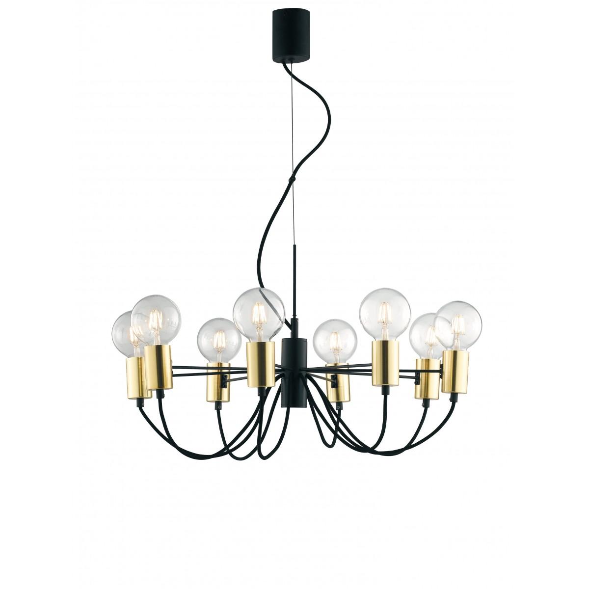 Creare Un Lampadario Di Stoffa lampadario a soffitto axon vintage sospensione con 8 porta lampade oro e  cavo in tessuto nero