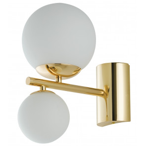 Applique HERA a muro rifiniture in metallo oro e diffusori in vetro soffiato opale 2 luci