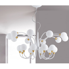 Lampadario a soffitto Aida design moderno bianco e oro con diffusori a sfera 20 lampade G9