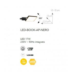 LED-BOOK-AP-NERO - Applique Orientabile Alluminio Lampada Libro Nera Led 17 watt Luce Calda