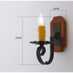 Applique Una Luce Metallo Legno...