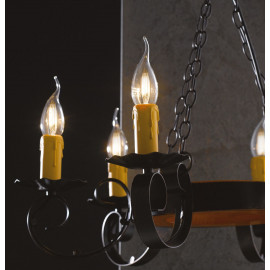 I-252/00500 - Lampadario Circolare Metallo Legno Sospensione Rustica Vintage E14