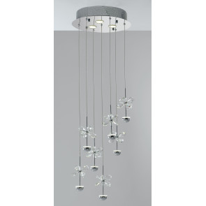 LED-BELEN-PL10 - Plafoniera Metallo Fiori in Cristallo K9 Lampada Interni Led 21 watt GU10 Luce Naturale
