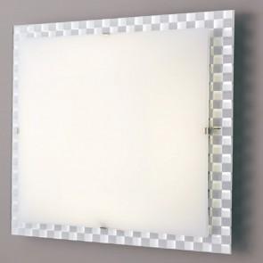 Plafoniera Vetro Bianco Quadrata...